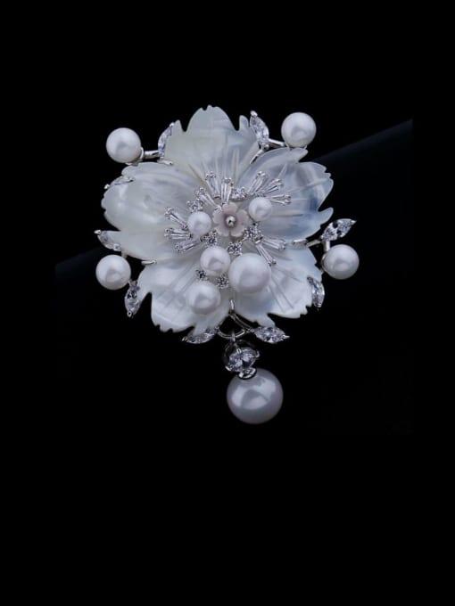 platinum Brass Cubic Zirconia Flower Luxury Brooch