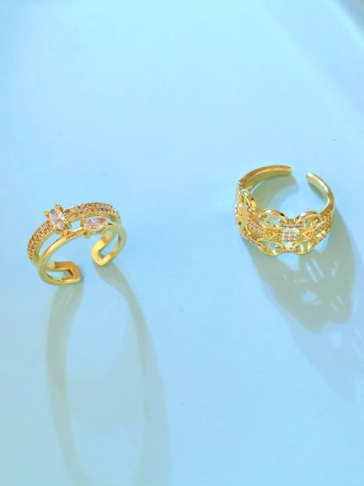 CC Brass Cubic Zirconia Geometric Vintage Band Ring 4