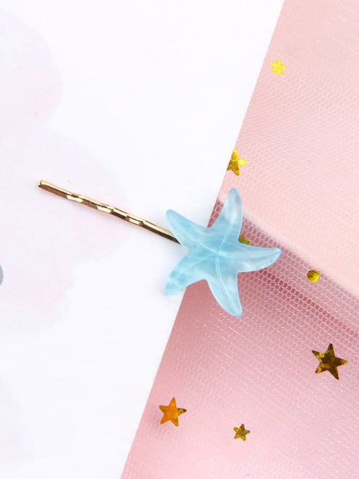 Starfish sea blue Alloy Cellulose Acetate Minimalist Heart Hair Pin