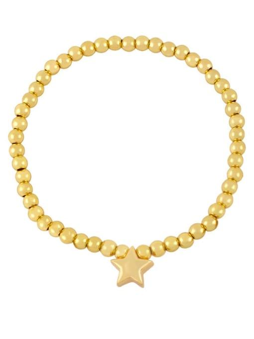 B (gold) Brass Star Minimalist Beaded Bracelet