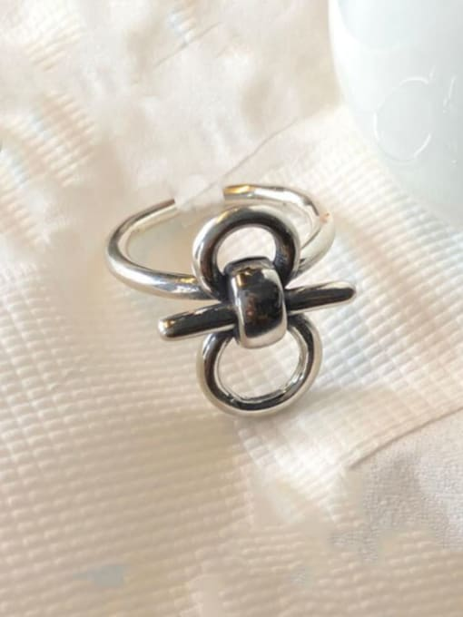 Boomer Cat 925 Sterling Silver Hollow Geometric Vintage Band Ring