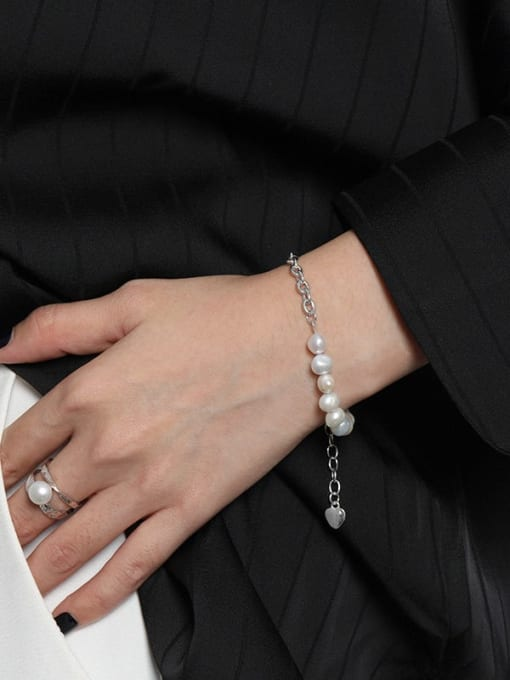 DAKA 925 Sterling Silver Imitation Pearl Geometric Vintage Link Bracelet 2
