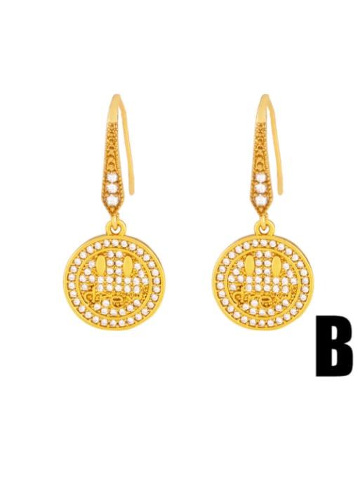 B Brass Cubic Zirconia Round Hip Hop Hook Earring