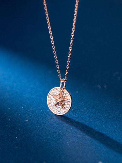 Rosh 925 Sterling Silver Cubic Zirconia Round Minimalist Necklace 2