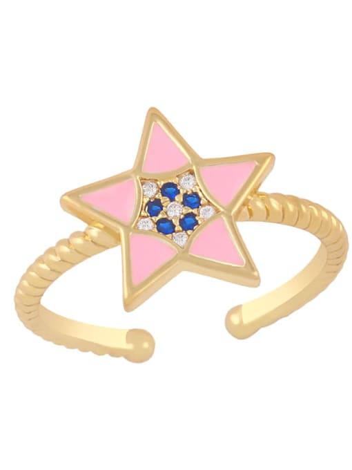 Pink Brass Enamel Star Minimalist Band Ring