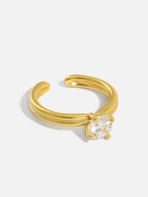 DAKA 925 Sterling Silver Cubic Zirconia Irregular Minimalist Band Ring