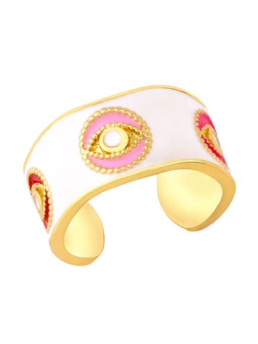 white Brass Enamel Hip Hop Band Ring