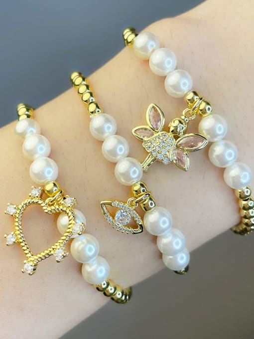 CC Brass Imitation Pearl Heart Vintage Beaded Bracelet 0
