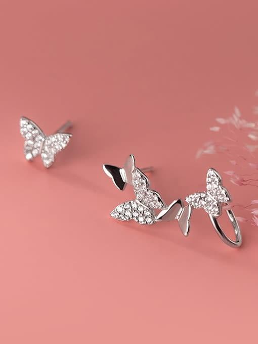 Rosh 925 Sterling Silver Cubic Zirconia Butterfly Dainty Clip Earring 2
