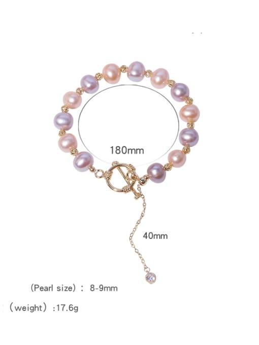 RAIN Brass Freshwater Pearl Round Minimalist Beaded Bracelet 3
