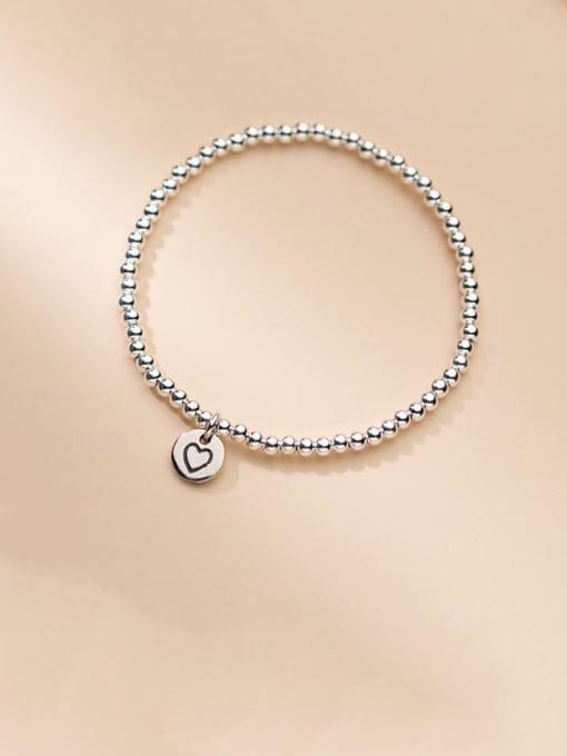 Rosh 925 Sterling Silver Heart Minimalist Beaded Bracelet 0