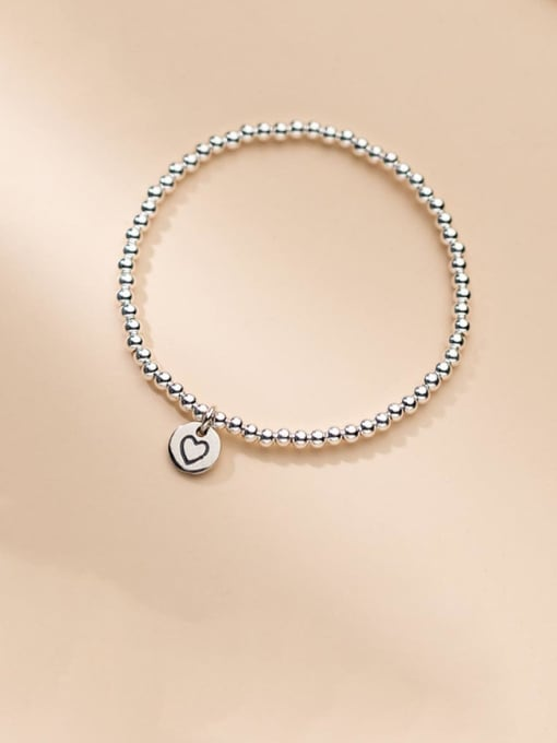 Rosh 925 Sterling Silver Heart Minimalist Beaded Bracelet