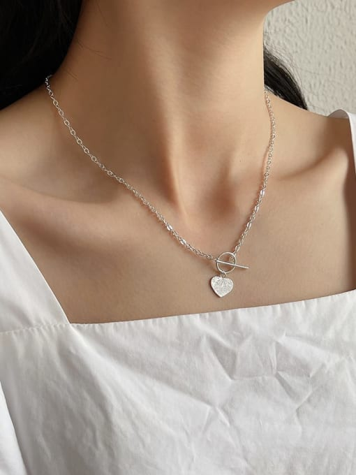 Boomer Cat 925 Sterling Silver Heart Vintage Necklace 1