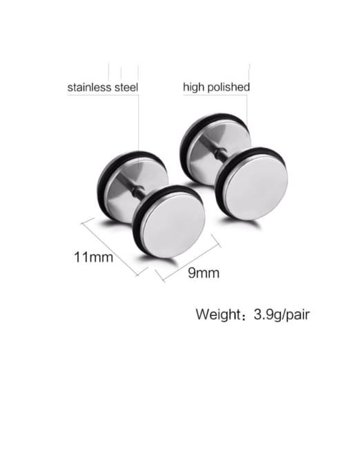 Steel color Titanium Steel Enamel Geometric Minimalist Stud Earring