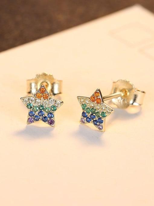 CCUI 925 Sterling Silver Cubic Zirconia Star Dainty Stud Earring 2