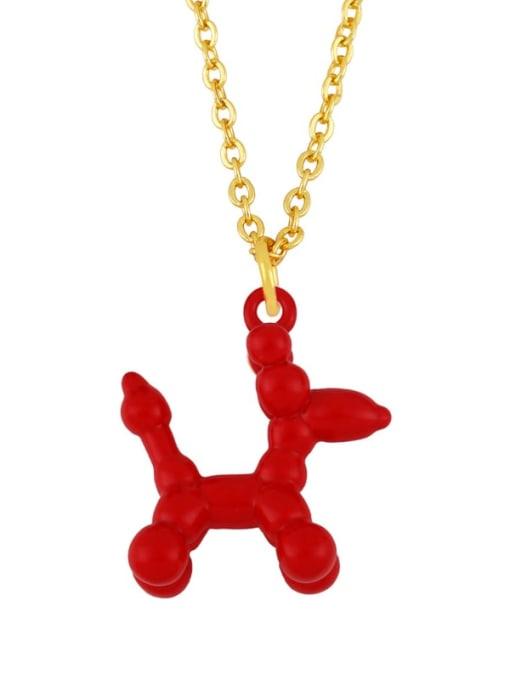 gules Brass Enamel Cute Dog Pendant Necklace
