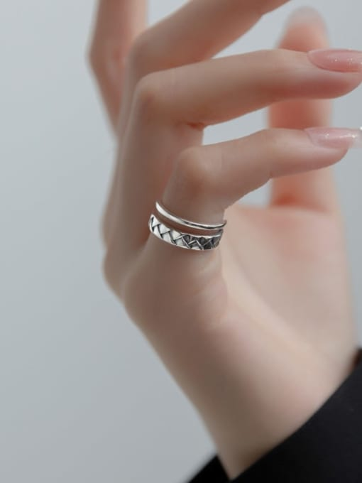 Rosh 925 Sterling Silver Geometric Vintage Stackable Ring 1