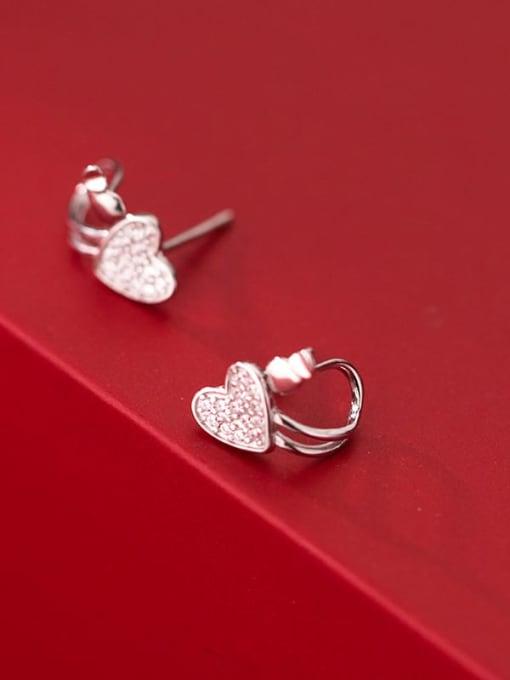 Rosh 925 Sterling Silver Cubic Zirconia Heart Minimalist Huggie Earring 3