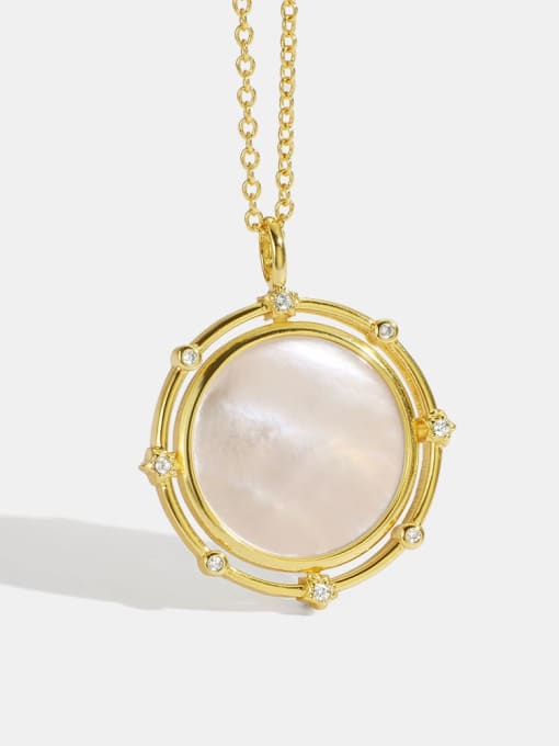 CHARME Brass Cats Eye Geometric Minimalist Necklace