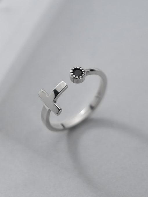 Rosh 925 Sterling Silver Enamel Cross Minimalist Band Ring 2