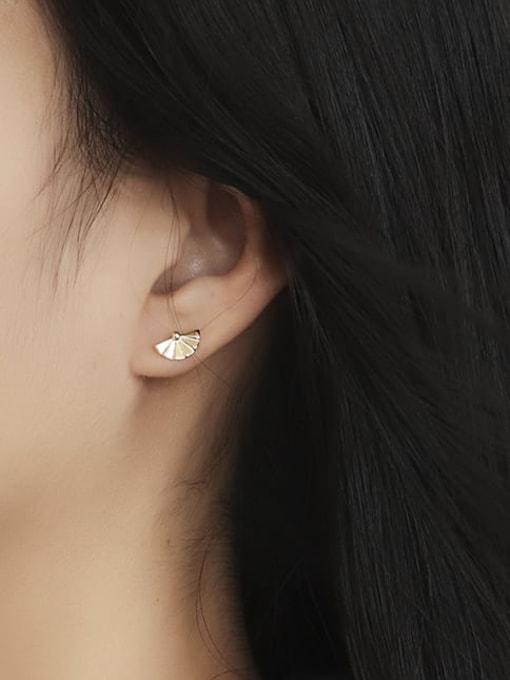 CHARME Brass Imitation Pearl Geometric Minimalist Stud Earring 2