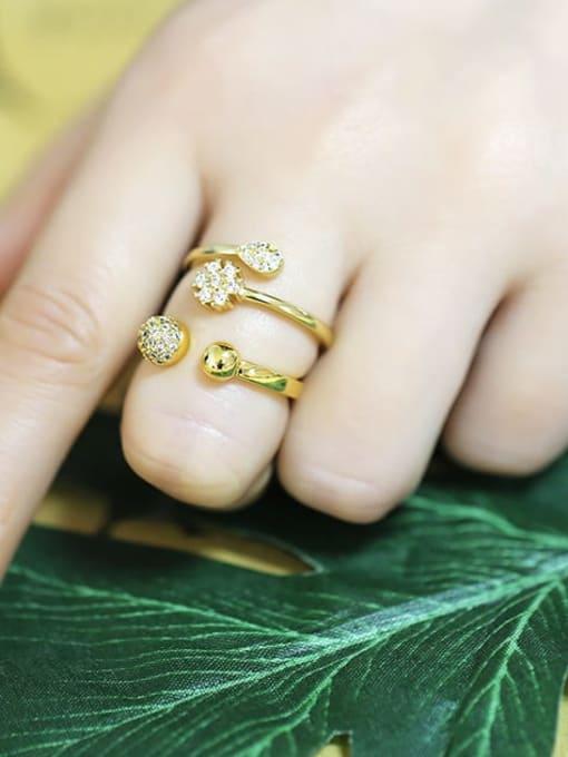 CC Brass Cubic Zirconia Ball Minimalist Band Ring 3