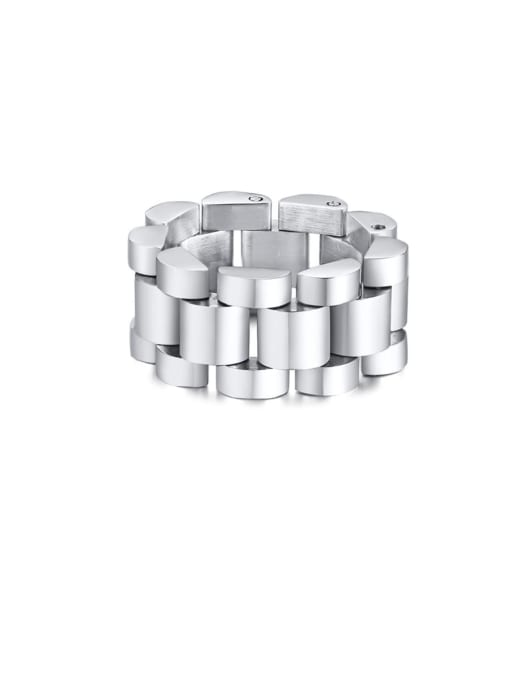 CONG Stainless steel Irregular Ethnic Band Ring 0