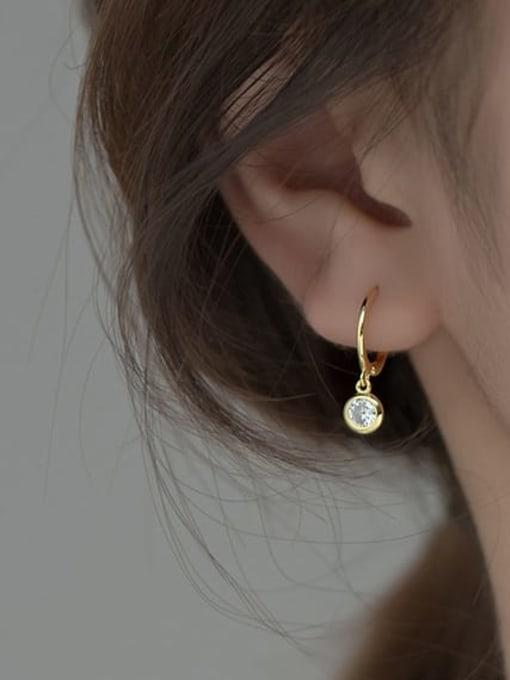 Rosh 925 Sterling Silver Cubic Zirconia Geometric Statement Huggie Earring 1