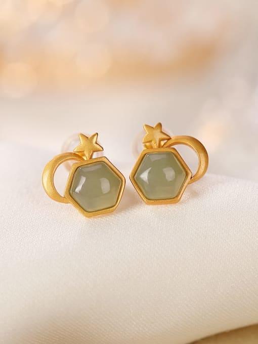 DEER 925 Sterling Silver Jade Geometric Vintage Stud Earring