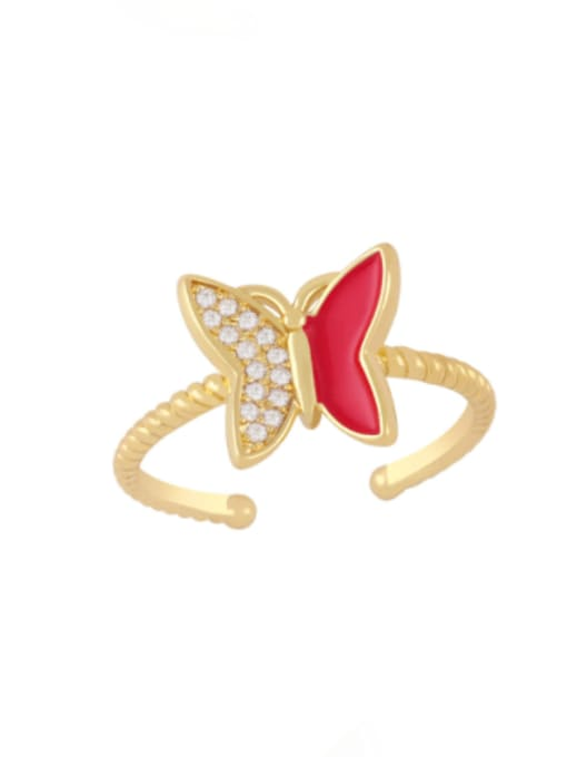 red Brass Enamel Rhinestone Butterfly Minimalist Band Ring