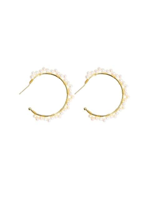 RAIN Brass Freshwater Pearl Geometric Minimalist C shape Drop Earring 0