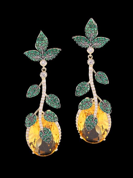 Golden+ green Brass Cubic Zirconia Flower Luxury Drop Earring