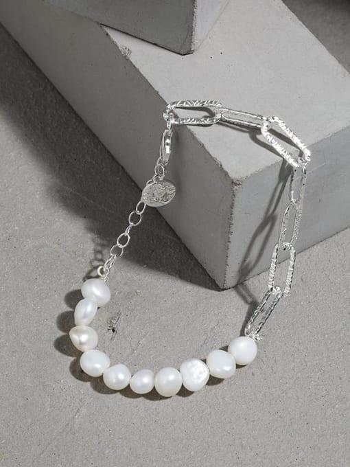 DAKA 925 Sterling Silver Freshwater Pearl Geometric Vintage Link Bracelet 1