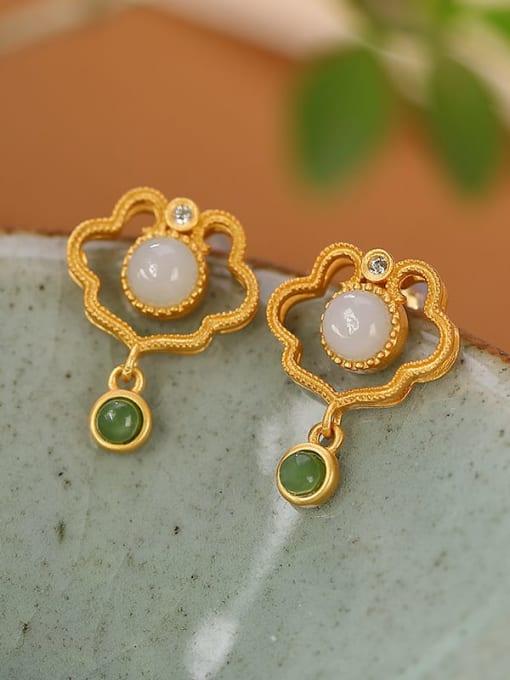 DEER 925 Sterling Silver Jade Geometric Vintage Drop Earring 2