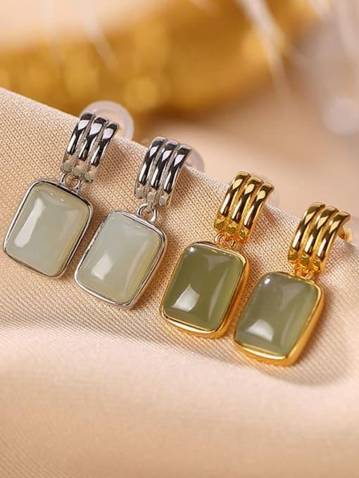 DEER 925 Sterling Silver Jade Geometric Vintage Drop Earring