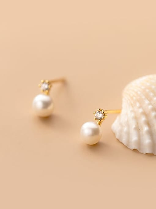 Rosh 925 Sterling Silver Imitation Pearl Round Minimalist Stud Earring 3