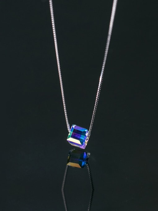 Rosh 925 Sterling Silver Crystal Square Minimalist Necklace 1
