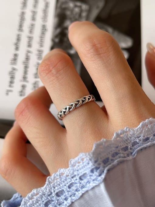 Rope ring j37 1.6g 925 Sterling Silver Irregular Vintage Band Ring