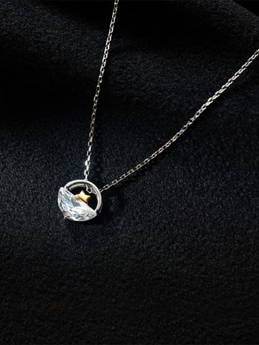 Rosh 925 Sterling Silver Cubic Zirconia Irregular Minimalist Necklace 0
