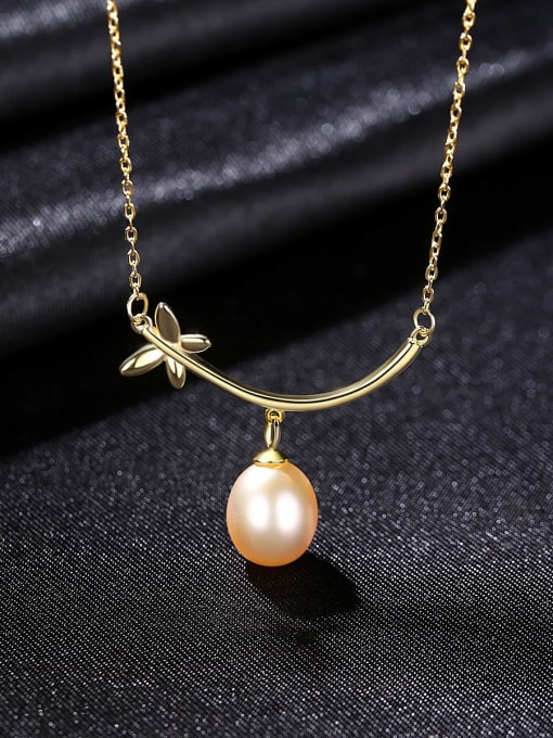 CCUI 925 Sterling Silver Freshwater Pearl Flower Minimalist Necklace 3