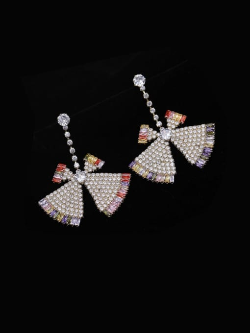Platinum color zirconium Brass Cubic Zirconia Triangle Statement Drop Earring