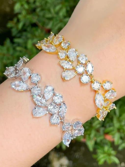L.WIN Brass Cubic Zirconia Water Drop Luxury Link Bracelet 1