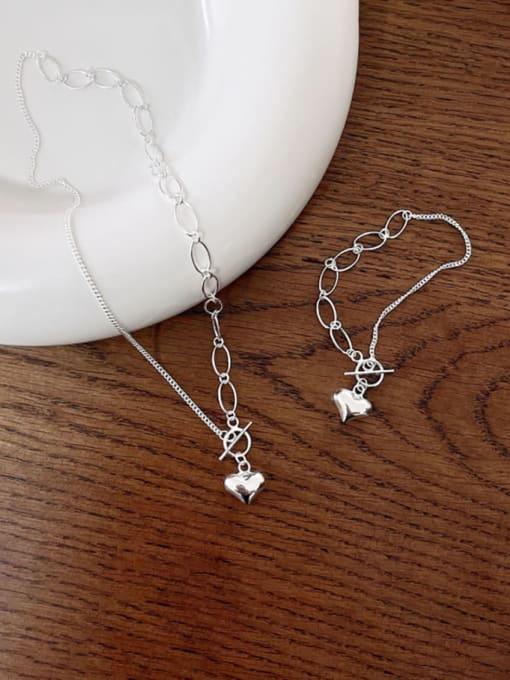Boomer Cat 925 Sterling Silver Heart Minimalist Link Bracelet 4