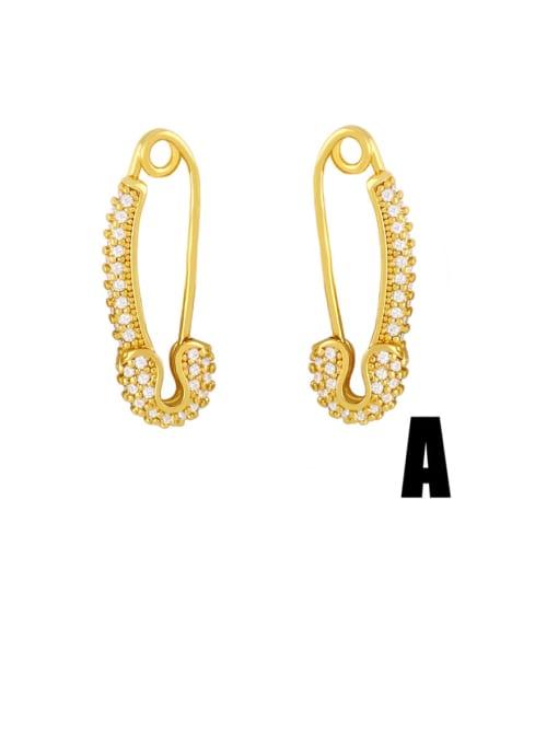 A Brass Cubic Zirconia Geometric Trend Huggie Earring