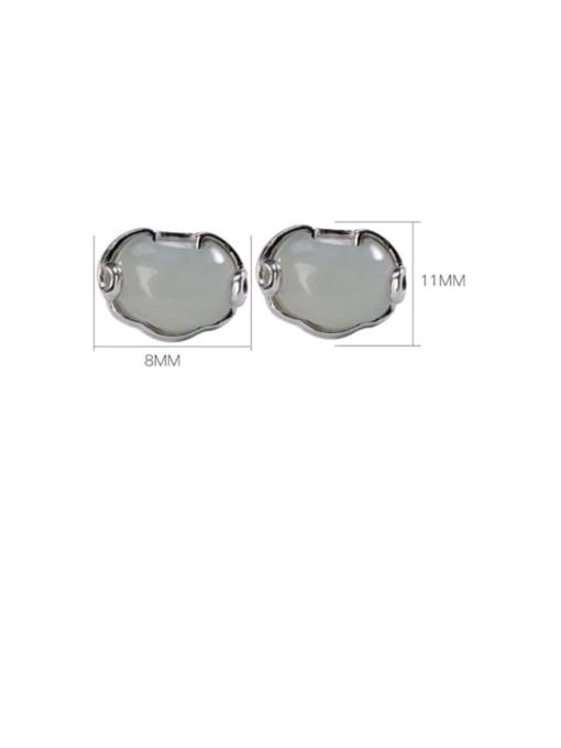DEER 925 Sterling Silver Jade Cloud Vintage Stud Earring 3