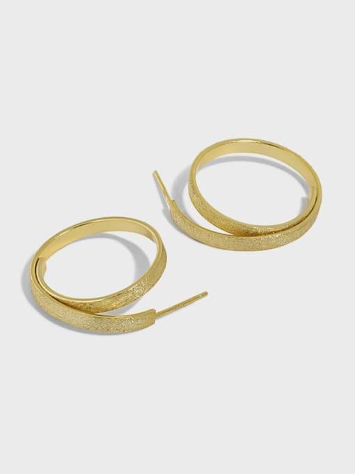 DAKA 925 Sterling Silver Geometric Vintage Hoop Earring