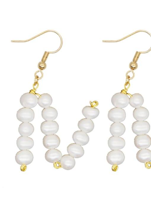 ZZ E200079N Stainless steel Freshwater Pearl Letter Ethnic Drop Earring