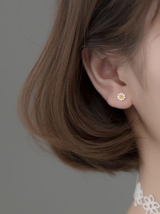 Rosh 925 Sterling Silver Flower Minimalist Stud Earring 2