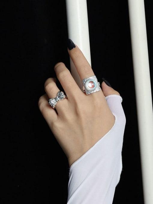 DAKA 925 Sterling Silver Bowknot Vintage Band Ring 1