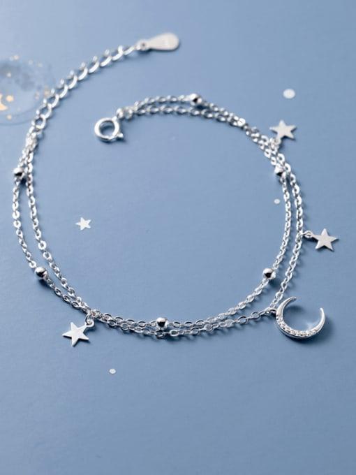 Rosh 925 Sterling Silver Cubic Zirconia Moon Minimalist Strand Bracelet